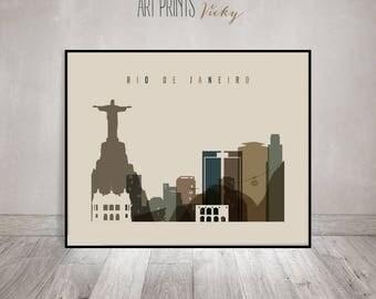 Rio De Janeiro art print, Travel, Poster, Wall art, Rio De Janeiro skyline, Brazil, City print, Home Decor, Travel Gift, ArtPrintsVicky