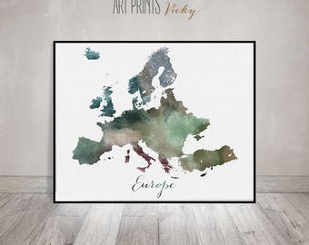 Europe map, Europe watercolor map, Wall art, Europe map poster, Europe print, map painting, Fine art prints, Home Decor, ArtPrintsVicky