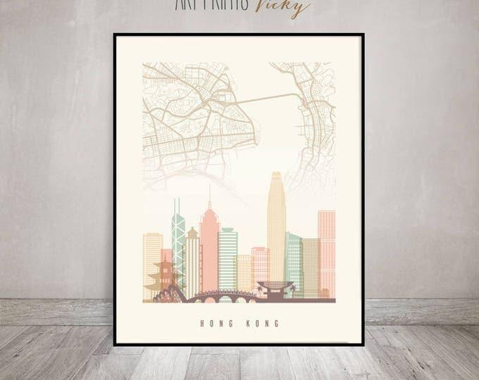 Hong Kong map print, Hong Kong skyline poster, China cityscape, Travel poster, City prints, Wall art, Home Decor, Wall decor, ArtPrintsVicky