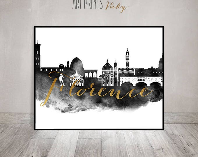 Florence wall art print, watercolor poster, black and white art, Florence skyline, Travel decor, Gift, Italy, faux gold, ArtPrintsVicky