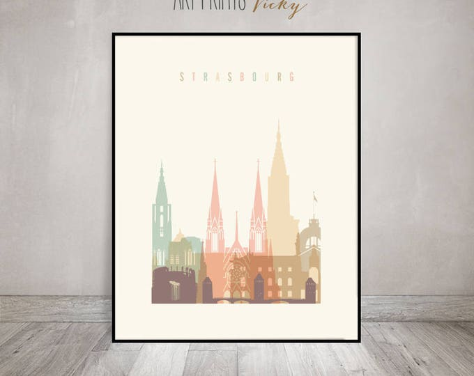 Strasbourg art print, poster, Strasbourg  skyline, Wall art, Travel gift, France cityscape, wall decor, housewarming gift, ArtPrintsVicky