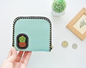 Cactus Lover (D) Mini Wallet - Plain Mint, Small Bi-fold Organizer Wallet, Zipper Coin Wallet, Fabric Coin Purse, Small Wallet