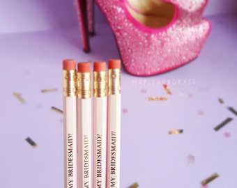 Quote pencils - Will you be my bridesmaid? - slogan pencils - bridesmaid gift wedding bridesmaid box quirky stationery