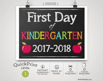 "50% OFF SALE - Printable First Day of Kindergarten Sign, First Day of School Sign, Instant Download, Print at Home, No Waiting, 8"" x 10"""