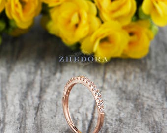Rose Gold Half Eternity Band, Engagement Ring, Wedding Ring, Stacking Ring, Stackable Band in Solid 14k/18k Rose Gold Wedding Band