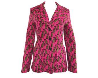 1960s Mod Face Print Pink  Wool Blazer Jacket Retro Design