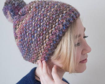 Multicolored Beanie Hat with Pom-Pom, Winter Hat, Hand Knit Hat, Womens Beanie Hat / Hand Knitted