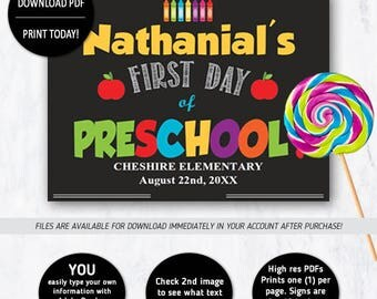 First Day of Pre-School Sign, 1st Day of School Sign - INSTANT DOWNLOAD Edit with Acrobat Reader