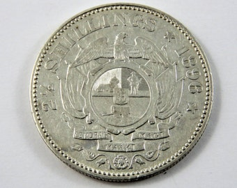 South Africa 1896 Sterling Silver 2 1/2 Shillings Coin.