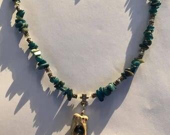 Handmade Men's Genuine Hand Carved Antler Genuine Blue Opal Genuine Aquamarine stone beaded necklace Jewelry opal necklace antler necklace