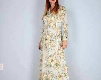 1970s Dress - Floral Maxi Dress - A-line - Sheath - Cowl Neck - Long Sleeve - Open Keyhole Cuff - Boho Hippie Vintage Dress - Medium Large