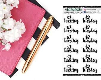 Cursive Lettering 2 Dollar Tuesday Headers Labels Planner Stickers [CL1001]