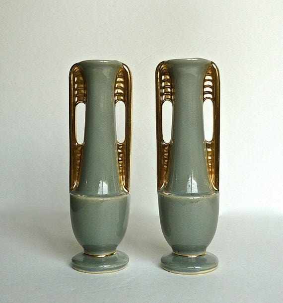 SHAWNEE BUD VASES #1178 ~ A Pair of Vintage Art Deco Shawnee Pottery ~ Dusty Green Gold Trim - Mid Century Skyscraper Vase ~ Mint Condition