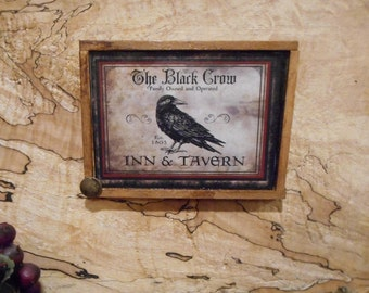 "Magnet:  Unique Black Crow Primitive Rustic 3"" by 4"" Framed Magnet/Wall HangingTeams FAAP OFG  WRR"