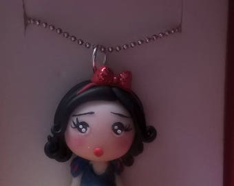 Snow White polymer Clay kawaii cute Necklace