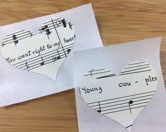 Vintage Sheet Music Heart Stickers