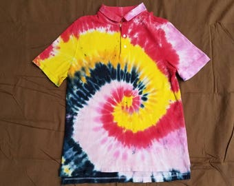 Medium/Large Spiral Tie Dye Polo Shirt
