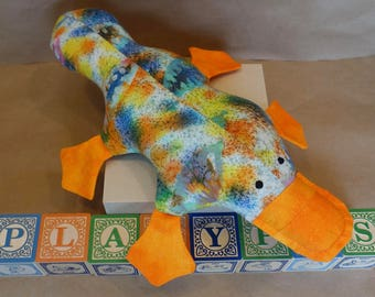 """Stuffed Platypus Toy in Multicolor Splatters (""""Splatypus"""")"""