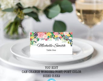 Place Card Template Wedding Place Cards Floral Place Cards Tent Cards Escort  sc 1 st  Etsy : food tent template - memphite.com