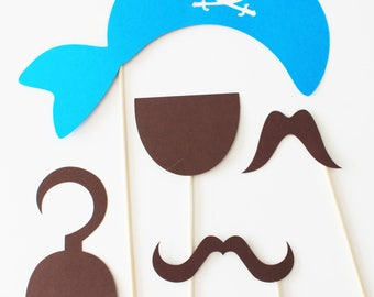 Set of 5 pirate birthday Photobooth - Brown and turquoise accessories