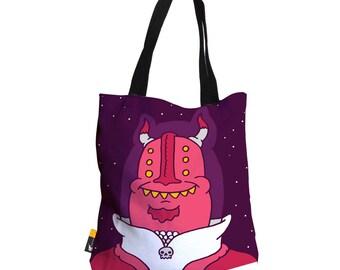 "Artist Designed Tote Bag - 18"" Inch Purple Beach Bag   Captain Skull by Bigshot Robot   UBU Republic"