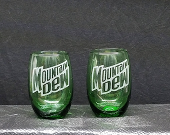 2 nice etched stemless wine glasses, Mountain Dew