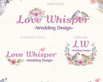 Love Whisper | Photograph Premade Logo Watermark Design | Logo Branding Package | Blog Header | Marketing Kit | Wedding Bouquet Ornament
