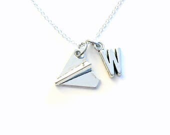 Monogram Paper Airplane Necklace, Silver Air Plane Jewelry, Origami Geometric BFF Gift for Secret Sisters initial Pinterest Charm teen boy