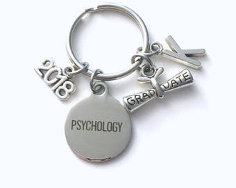 Psychology Graduation Gift, 2017 2018 Psych Student Keychain for Psychologist Grad Key Chain Doctor Keyring Graduate initial letter man 2016