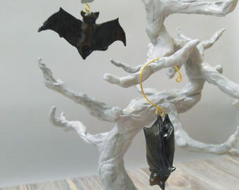 Bats Halloween Ornaments, Set of 2, Hand Sculpted and Painted