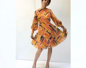 Fabulous Yellow Abstract Print Dress 1970s