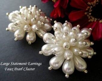 Large Statement Earrings * Faux Pearl Cluster Earrings * Flower Or Starburst Shape * Retro 1960s Earrings