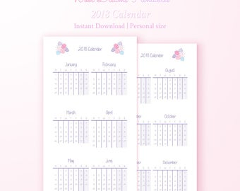 Personal 2018 Calendar Pastel Pink Flowers, personal organizer, year overview, year on two pages, planner fits filofax, calendar printable