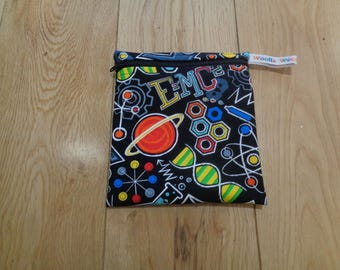 Snack Bag - Bikini Bag - Lunch Bag - Make Up Bag Small Poppins Waterproof Lined Zip Pouch - Sandwich bag  Eco - Science Geek Black Chemistry