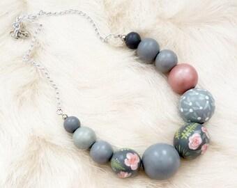Unique hand painted necklace