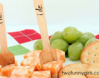 Wood Mini Desert/Appetizer Forks for Wedding  - Set of 20  {i do.}