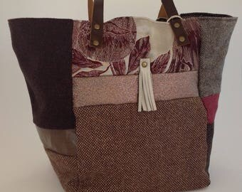 """Patchwork"" Burgundy and Brown tote. New and recycled materials. Woolens, glitter, linen, velvet, suede, faux and leather."