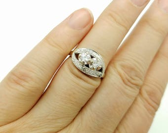 Lovely Vintage 14K White Gold and Diamond Ring with Milgrain Finish