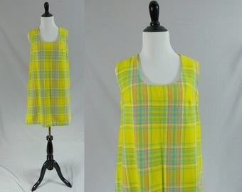 60s Yellow Plaid Dress - Sleeveless - Handmade - Pink Blue Purple White - Mod Plaid Dress - Vintage 1960s - M L