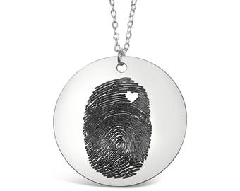 Custom Personalized Fingerprint With Heart Necklace - Personalized Fingerprint Jewelry - Keepsake - Memorial Jewelry - Memorial Gift