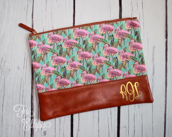 Flamingo Canvas Cosmetic bag, Personalized