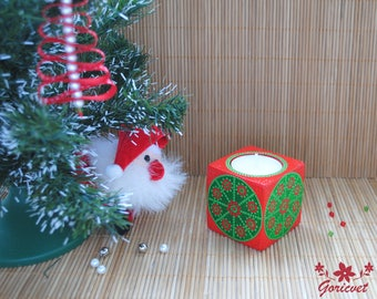 Candle holder Holiday decor Christmas gift for her Gifts for men Hand painted decor Xmas gift for mom Red green home decor Wood candlestick