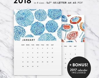Printable 2018 Calendar, Watercolor Calendar Planner 2018 PDF, A4 UsLetter A5 Calendar Printable Wall Calendar, Modern 2018 Instant Download