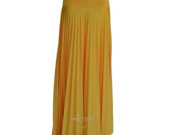 MARIGOLD Flare Jersey Pleated Maxi Skirt | Modest Long Skirt | Islamic Clothing XS S M L XL 2XL 3XL