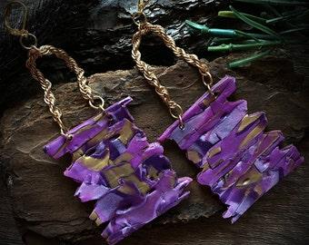 Purple Primitive Earrings/ Purple Gold Polymer Earrings/ Bold Chain Drop Earrings/ Purple Rustic Earrings/ Purple Clay Artisan Earrings