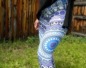 Capri Leggings - Aztec, Tribal Style Leggings, Blue and Purple Mandala Art, Yoga, Festival Pants