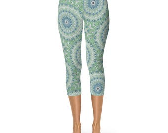 Capri Boho Beach Leggings - Ladies Yoga Leggings, Ocean Blue and Sea Green Mandala Yoga Pants