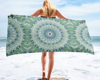 Mandala Beach Blanket, Lightweight Beach Towel, Blue and Green Mandala Art for Beach or Pool, Towel Cover Up