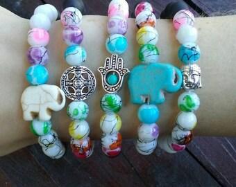 Chakra Bracelets, Yin Yang Bracelets, Buddha Bracelet, Elephant Bracelet, Hamsa Hand Bracelet, Rainbow Jewelry, Yoga Meditation Bracelets