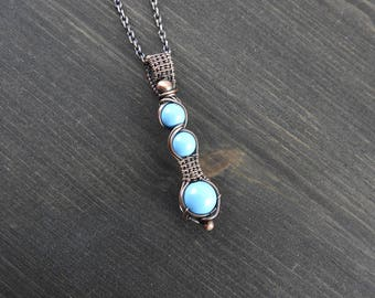 Wire wrapped pendant Artisan copper pendant Swarovski pearl pendant Unique jewelry Gift for her Turquoise blue pendant Valentine gift
